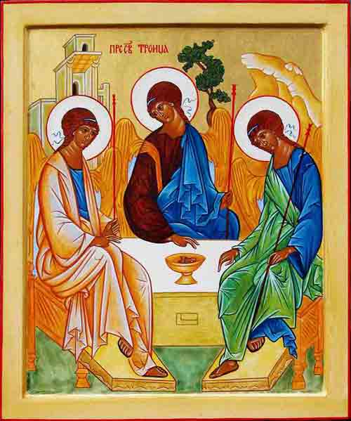 "The Holy Trinity by St. Andrei Rublev, using the theme of the ""Hospitality of Ab"